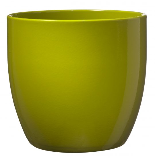 Basel Full Colour Orchid Pot Ceramic - Shiny Lime (14 x 13cm)