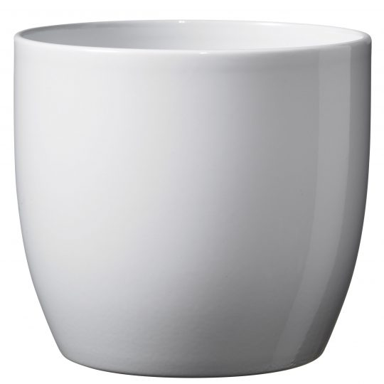 Basel Full Colour Ceramic Orchid Pot Shiny White (14cm)