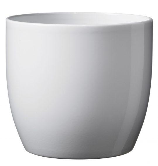 Basel Full Colour Ceramic Orchid Pot Shiny White (14cm)
