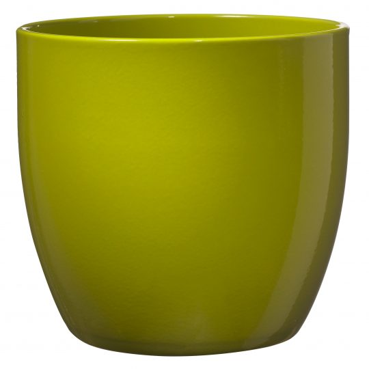 Basel Full Colour Orchid Pot Ceramic - Shiny Lime (16 x 15cm)