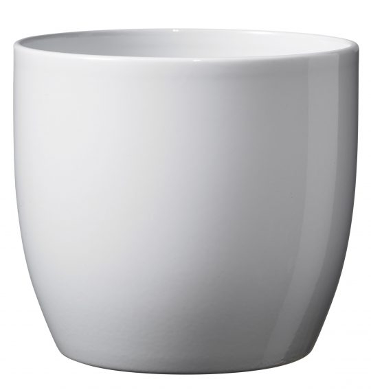 Basel Full Colour Orchid Ceramic Pot Shiny White (16cm)