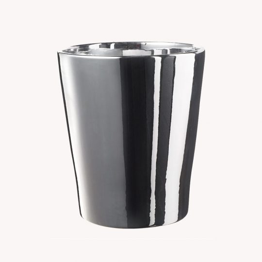 Merina Ceramic Orchid Pot Shiny Silver (14cm)